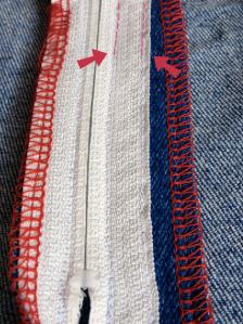 Reissverschluss absteppen Jeans